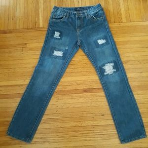 Kids Lucky Brand Ripped Billy Straight Jeans  /12